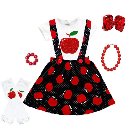 Red Sparkle Apple Outfit Polka Dot Top And Jumper