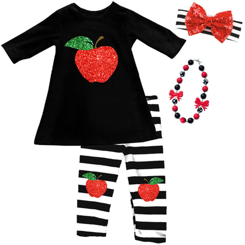 Red Sparkle Apple Stripe Top And Capri