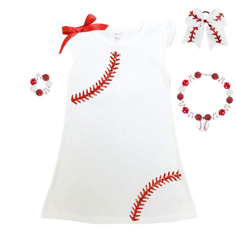 Red Sparkle Baseball Laces Tank Dress