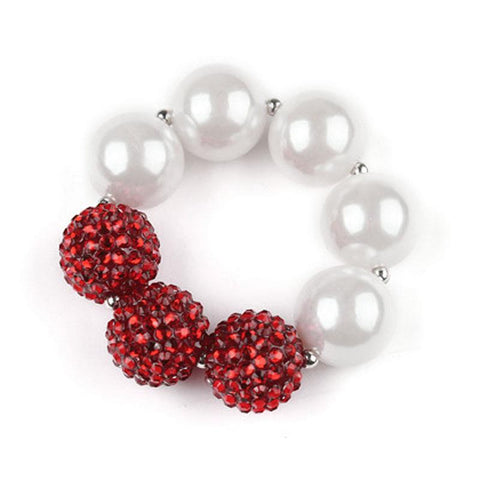 Red Sparkle Pearl Heart Bracelet Chunky Gumball