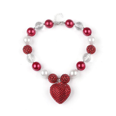 Red Sparkle Pearl Heart Necklace Chunky Gumball