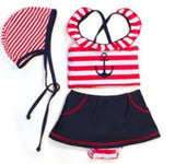 Red Stripe Anchor Three Piece Swimsuit
