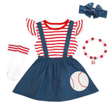 Red Stripe Baseball Outfit Navy Top And Jumper