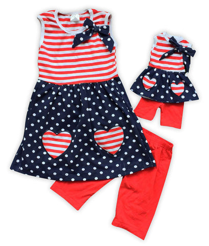 Red Stripe Blue Polka Bow Capri Set