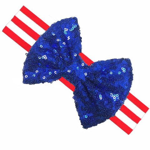 Red Stripe Blue Sequin Bow Headband