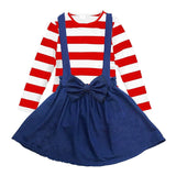 Red Stripe Denim Jumper Costume