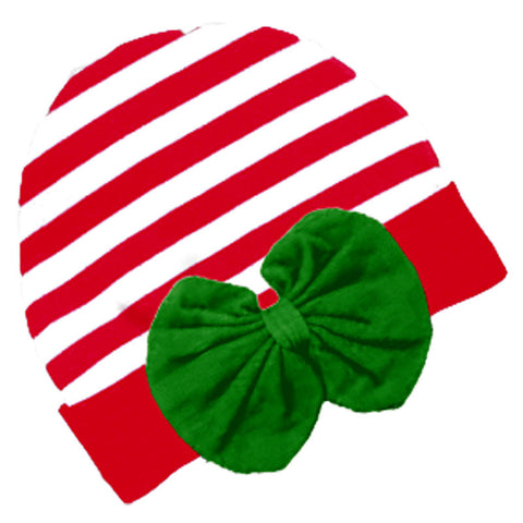 Red Stripe Green Bow Beenie Hat