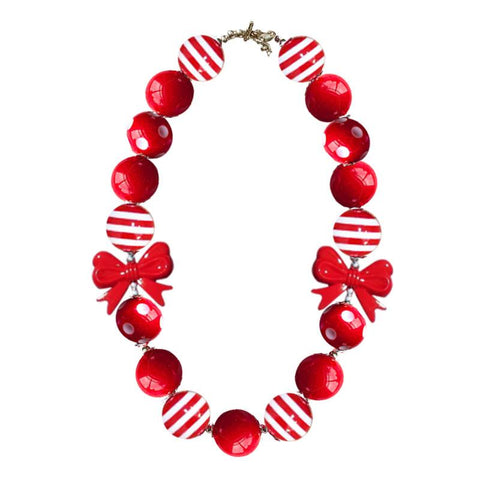Red Stripe Necklace Bow Polka Chunky Gumball