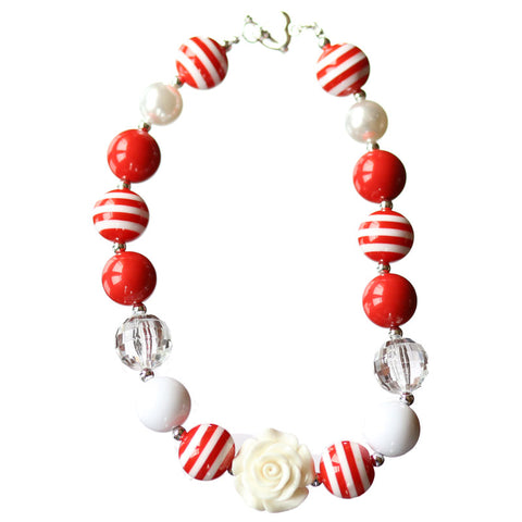 Red Stripe Necklace White Flower