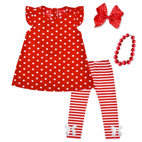 Red Stripe Outfit Polka Dot Top And Pants