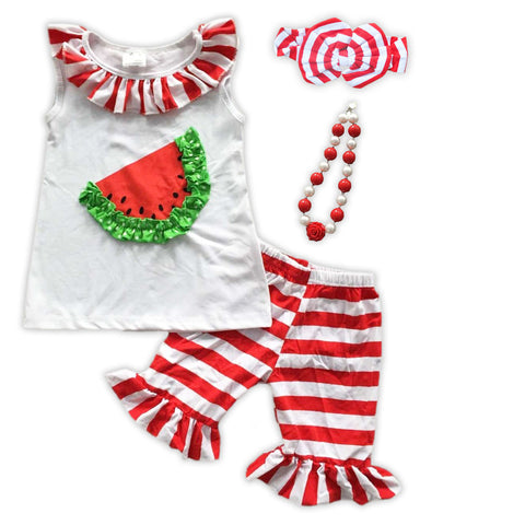 Red Stripe Watermelon Ruffle Shorts Set