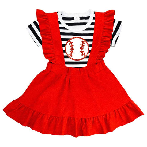 Red Suede Baseball Outfit Stripe Top And Jumper