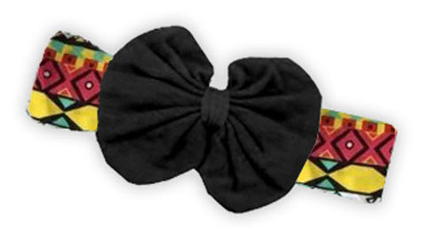 Red Teal Aztec Black Messy Bow Headband