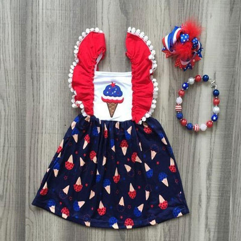 Red White And Blue Dress Ice Cream Cone