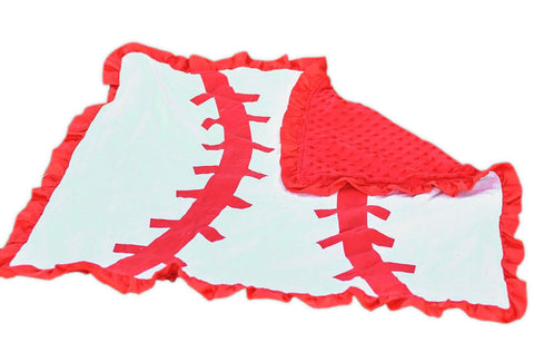 Red White Baseball Minky Blanket
