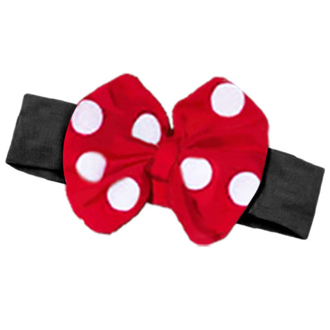 Red White Big Polka Black Messy Bow Headband