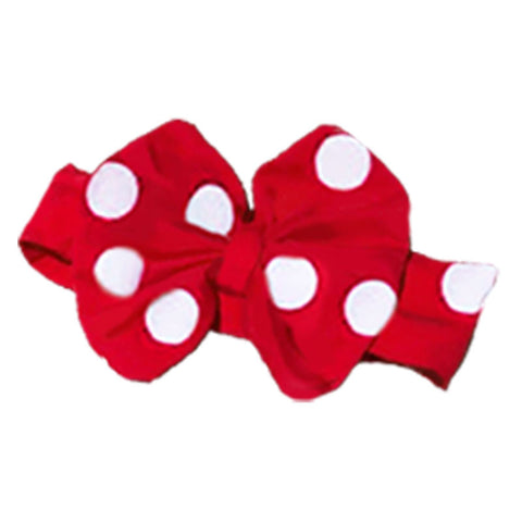 Red White Big Polka Messy Bow Headband