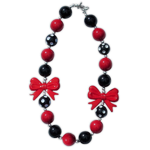 Red White Black Polka Bow Necklace