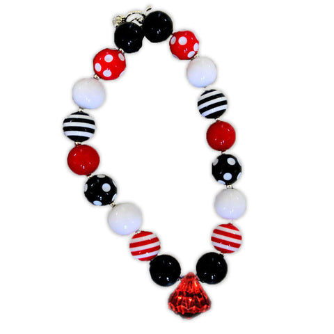 Red White Black Polka Red Diamond Necklace