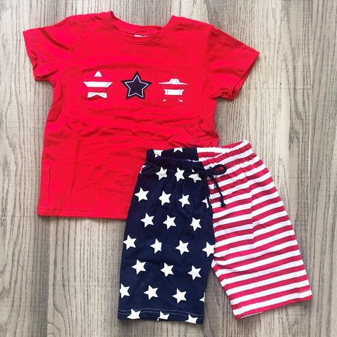 Red White Blue Outfit Boy Shirt And Shorts