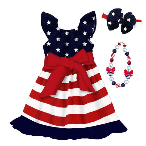 Red White Blue Stripe Dress Ruffle Stars