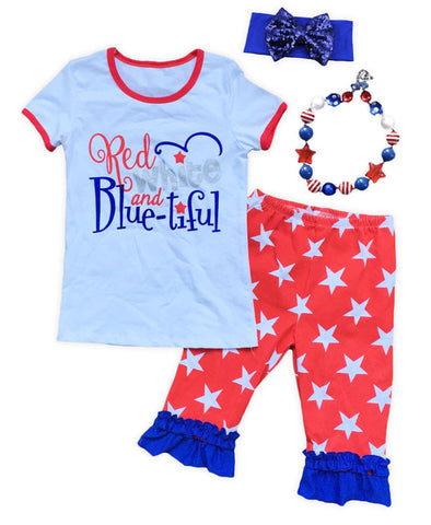 Red White Bluetiful Star Capri Set