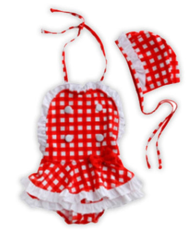 Red White Checkered Ruffle Swimsuit