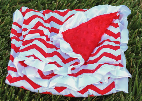 Red White Chevron Red Minky Blanket