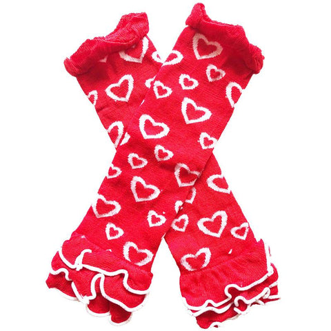 Red White Heart Leg Warmers