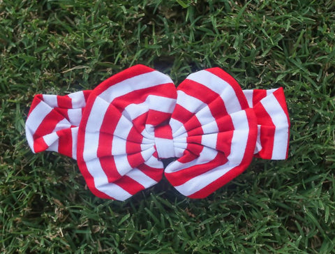 Red White Messy Bow Headband