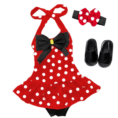Red White Polka Black Bow Swimsuit