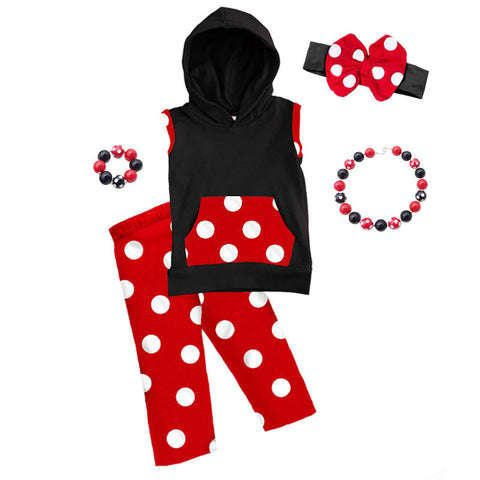 Red White Polka Black Hoodie And Capri