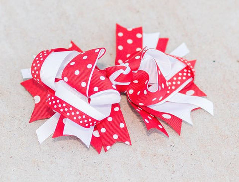Red White Polka Bow