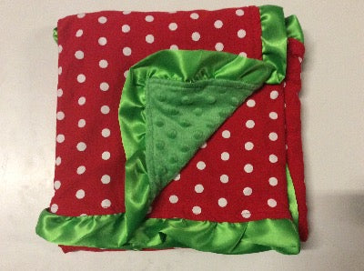 Red White Polka Green Minky Blanket