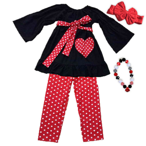 Red White Polka Heart Bow Top And Pants