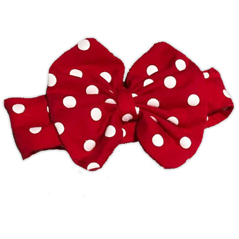 Red White Polka Messy Bow Headband