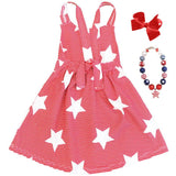Red White Stripe Star Dress Halter