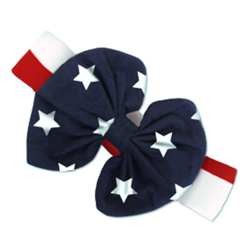 Red White Stripe Stars Messy Bow Headband