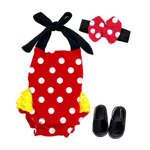 Red Yellow Black Polka Romper