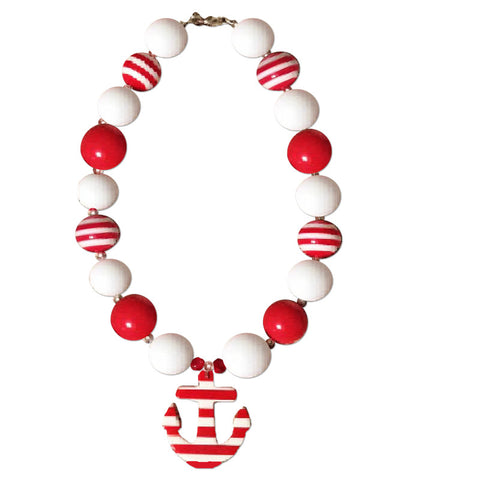 Red Stripe Anchor Necklace