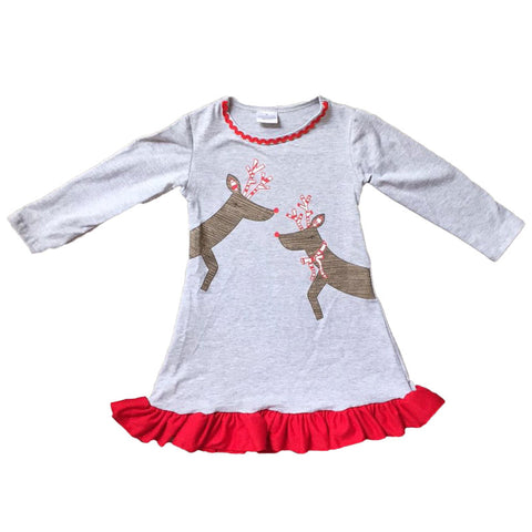 Reindeer Dress Gray Red Ruffle