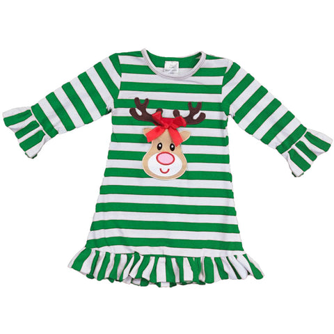 Reindeer Dress Green Stripe Ruffle