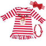 Reindeer Dress Red Stripe Ruffle