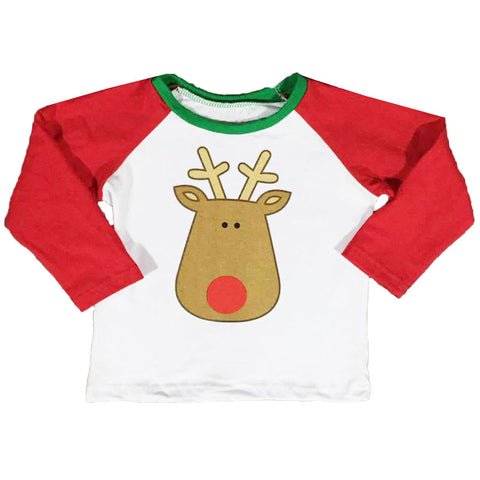 Reindeer Face Shirt Red Raglan