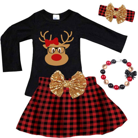 Reindeer Glasses Gold Shirt Bow Black