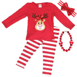 Reindeer Outfit Red Stripe Top And Pants