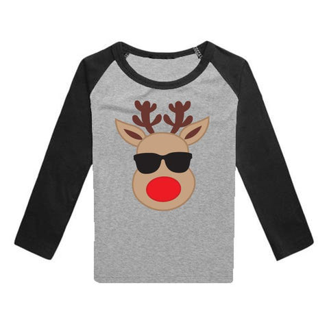 Reindeer Shades Shirt Gray Black Raglan Boy