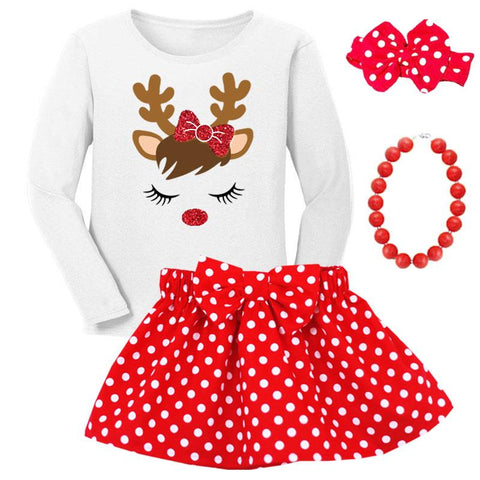 Reindeer Sparkle Outfit Red Polka Top And Skirt