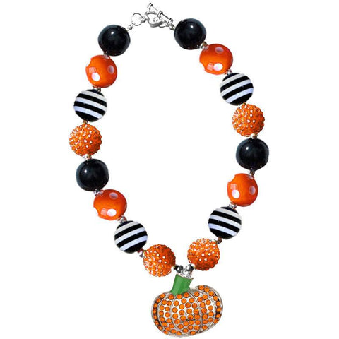 Rhinestone Pumpkin Necklace Black Stripe Chunky Gumball