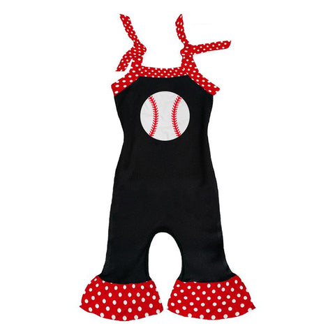 Ruffle Baseball Romper Black Red Polka Dot